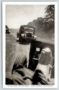 Camp Roberts California~155 mm Guns on Road~Trucks~WWII 1940s B&W Postcard