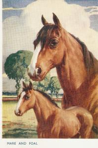 F.E.Valter. Horses.Mare and Foal Lovely Valentine Postcard