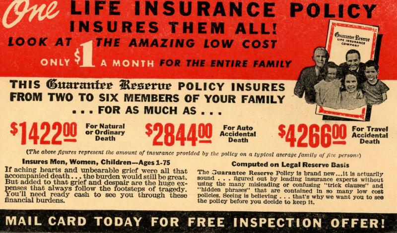 Advertisement - Guarantee Reserve Life Insurance Co., Indianapolis, Indiana