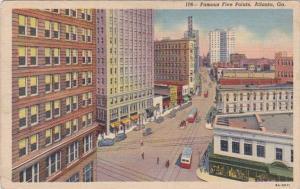 Georgia Atlanta Famous Five Points 1942 Curteich