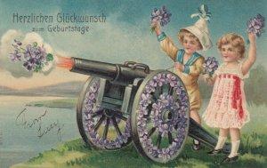 Herzlichen Gluckwunsch zum Geburtstage; 00-10s; Canon, purple flowers, children