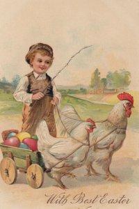 AS: EASTER, 1900-10s; Boy guiding Chicken drawn wagon, colored eggs, PFB 7500