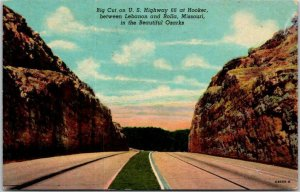 Hooker, Missouri Postcard Big Cut on Highway 66 Curteich / 1953 Cancel