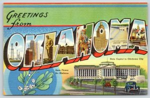 Oklahoma~1940s Car~State Large Letter Linen~State Flower~Capitol~Military Base?*