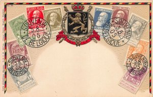 Belgium Stamp Images on Early Embossed Postcard, Published by Ottmar Zieher