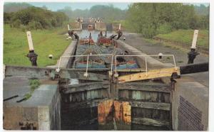 Canals; Pair Of Narrowboats Descending Stockton Flight, Nr Long Itchington PPC