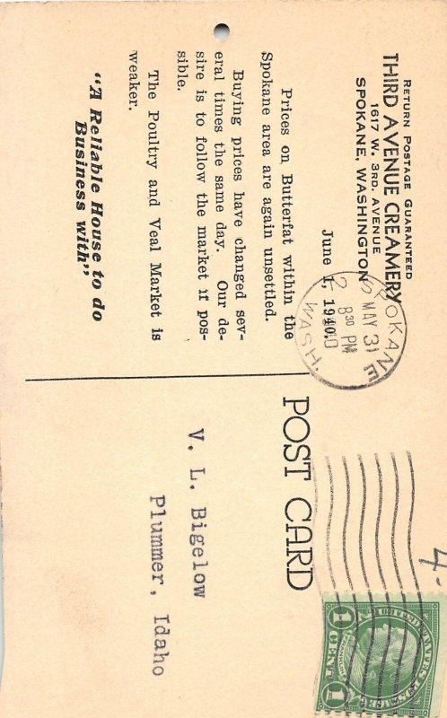 H56/ Spokane Washington Postcard 1940 Calendar Fat Child Creamery Veal