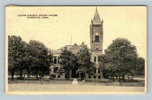 Chariton IA, Lucas County Court House, Clock Tower,*crease Vintage Iowa Postcard