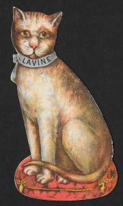 VICTORIAN TRADE CARD Lavine Soap Diecut Cat Sitting on Pillow
