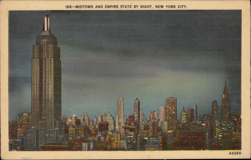 Midtown and Empire State by night New York City linen