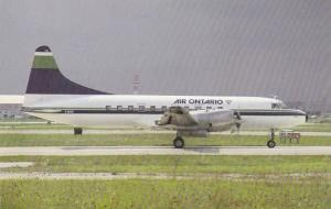 Passenger Airplane on Runway, Convair 580, C-GDTE, Air Ontario, Canada, 40-60's