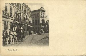 brazil, SÃO PAULO, Street Scene with Horse Cart (1899)