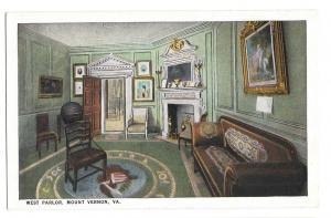VA Mount Vernon West Parlor Washingtons Home Postcard