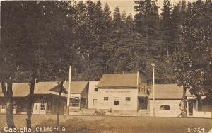 C75/ Castella California Ca Postcard c1910 Railroad Depot Saloon Bar Building
