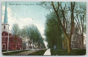 Warren Illinois~Water Street South~Churches Both Sides Rutted Dirt Road~1910 PC