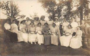 c1910 RPPC Real Photo Postcard Group Portrait Women Fashion Fancy Dress Hats