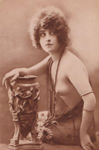 Glamour Lady Risque Playing With Roman Orgy Jar Antique Postcard