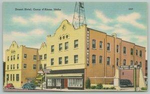 Coeur d'Alene Idaho~Radio Tower Atop Desert Hotel~1940s Linen PC