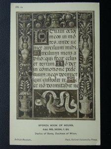 Sforza Book of Hours DEVICE BONA DUCHESS OF MILAN III.12 Old Postcard by O.U.P.