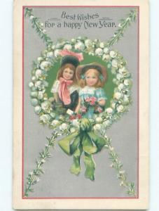 Pre-Linen New Year GIRLS IN RING OF LILY OF THE VALLEY FLOWERS AB2651
