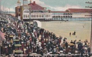 New Jersey Atlantic City The Boardwalk And Steel Pier Easter Sunday 1907