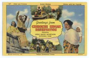 Greetings from Cherokee Indian Reservation, North Carolina, NC, Linen