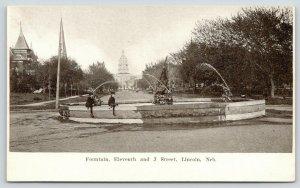 Lincoln Nebraska~11th & J Street Fountain~Boys on Edge~c1905 B&W Postcard