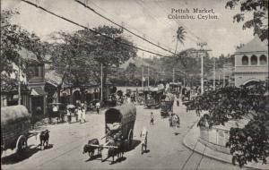 Colombo Ceylon Pettah Market Street Scene c1910 Postcard