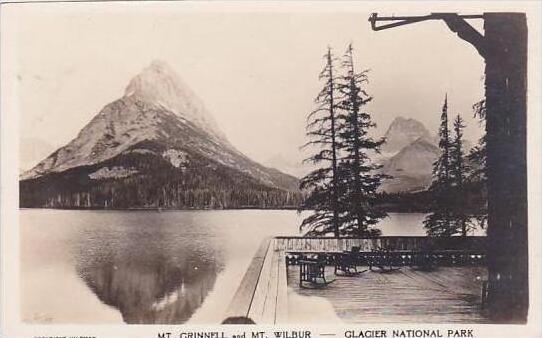 Montana Glacier National Park Mt Grinnell &  Mt Wilbur Real Photo RPPC