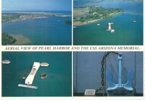 Aerial view of Pearl Harbor and the USS Arizona Memorial
