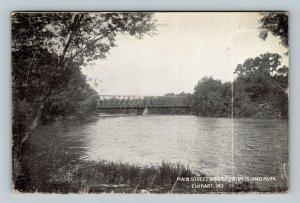 Elkhart IN-Indiana, Main Street Bridge, Island Park, Vintage c1909 Postcard