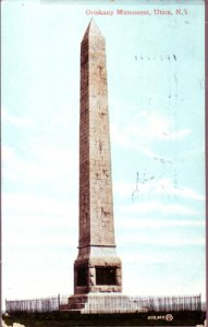 UTICA - CLOSE-UP view of the Oriskany Monument with wrought iron fence, 1908
