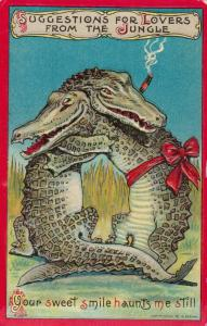 Couple of Crocodiles hugging, Your sweet smile haunts me still, PU-1909