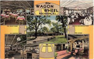 Linen Roadside THE WAGON WHEEL ROCKTON Illinois Ill Postcard 5View INTERIOR