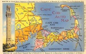 Cape Cod Auto Map USA Postcard Unused