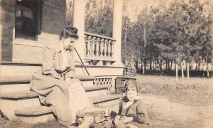 Minneapolis MN~Victorian Mother on Porch Steps~Lil Daughter~Firewood~1906 RPPC