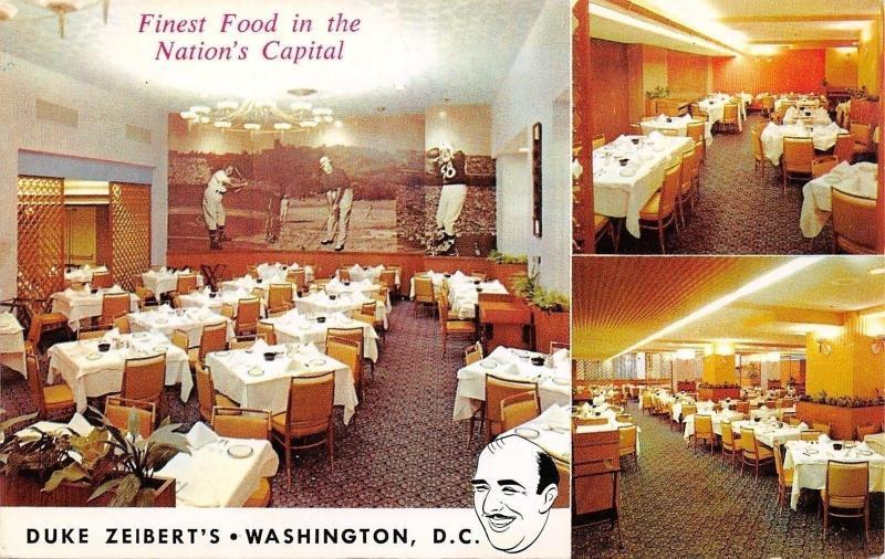 Washington DC~Duke Zeibert's Restaurant~Interior~Football Baseball Mural~1950s