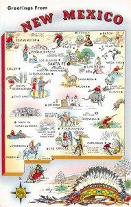 LPM64 New Mexico Map Chrome Postcard The Sunshine State