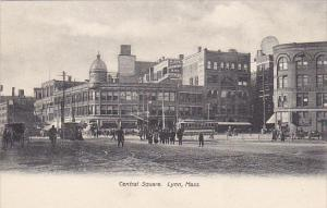 Trolley On Central Square Lynn Massachusetts 1912
