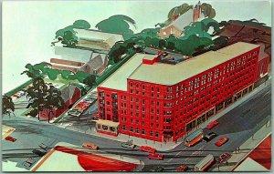 1950s Portland, Maine Postcard HOTEL LAFAYETTE Artist's Aerial View 1950s Chrome