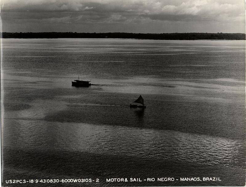 brazil, MANAOS, Rio Negro, Motor & Sail (1943) Large 9.4 x 7.8 inch Real Photo