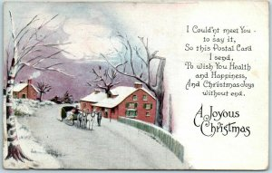 Vintage Joyous Christmas Postcard I Couldn't Meet You to Say It… 1917 Cancel