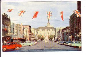 Twenty-First Street, Downtown, Yorkton Saskatchewan, Bessborough Hotel, Flags...