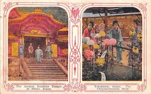 Japan Old Vintage Antique Post Card Ancient Buddhist Temple, Yokohama Nikko U...
