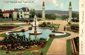 Pennsylvania Pittsburgh Scene In Higland Park Showing Entrance 1907 Rotograph