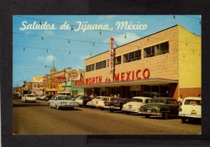 Mexico Saludos de Tijuana Woolworth Dept Store Nacho's Postcard Main St Old Cars