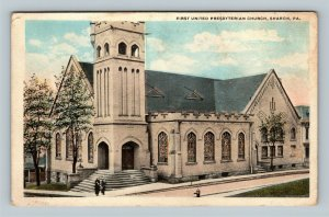 Sharon PA, First United Presbyterian Church, Vintage Pennsylvania c1920 Postcard