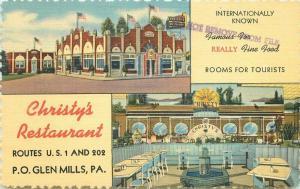 Christy's International Hotel Restaurant Glenn Mills Pennsylvania 1930s 3396