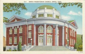 Erwin TN~Portico-Rotunda~Dome Top~Erwin Presbyterian Church~1940s Postcard