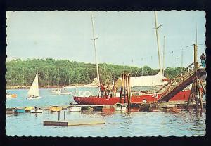 South Freeport, Maine/ME Postcard, Yacht Basin/Dock/Sail